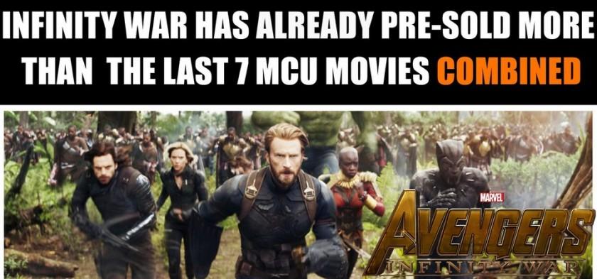 Vingadores - Guerra Infinita tem pré-vendas maiores que os últimos 7 filmes da Marvel Studios combinados
