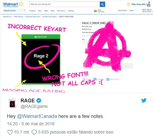 Bethesda twitta sobre vazamento de Rage 2 pelo Walmart
