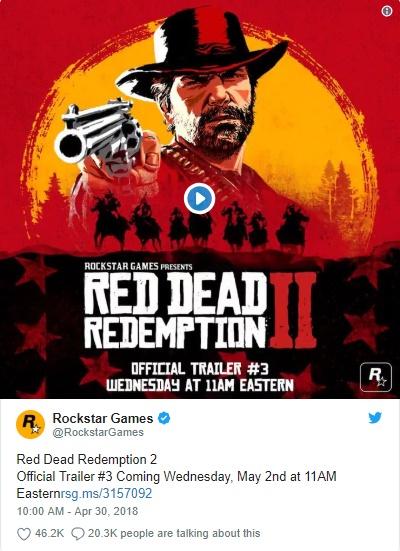 Red Dead Redemption II - Rockstar twitta sobre Trailer #3