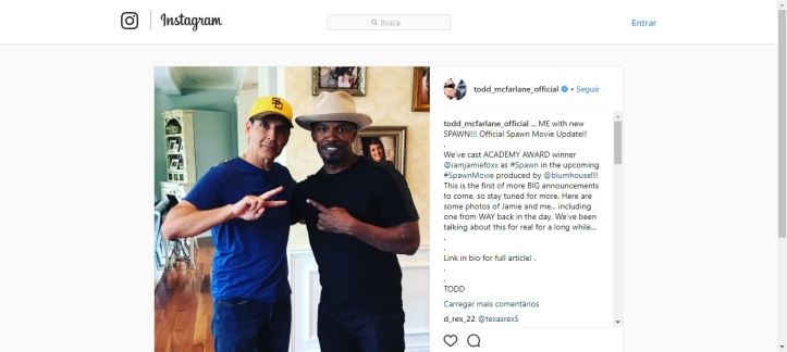 Todd McFarlane e Jamie Foxx sobre Spawn no Instagram