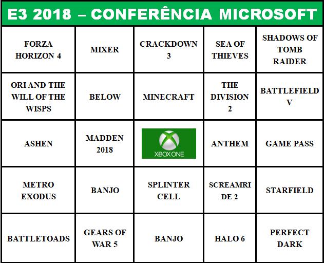 BingoNada - E3 2018 - Microsoft Conferência