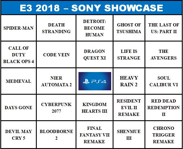 BingoNada - E3 2018 - Sony Showcase