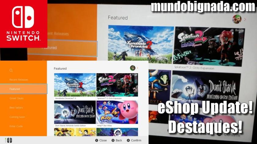 Destaques - Nova seção da eShop do Nintendo Switch aparece do nada - BIGNADA COMENTA