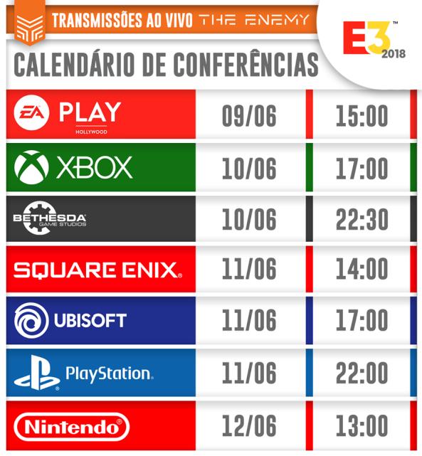 E3 2018 - Calendário