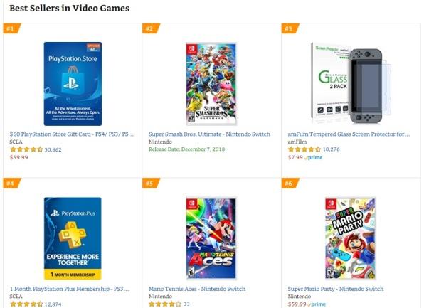Top 1 2 3 Amazon - Super Smash Bros Ultimate, Mario Tennis Aces, Super Mario Party
