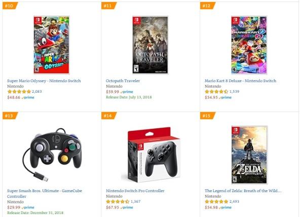 Top 4 5 6 7 Amazon - Super Mario Odyssey, Octopath Traveler, Mario Kart 8 Deluxe, The Legend of Zelda - Breath of the Wild