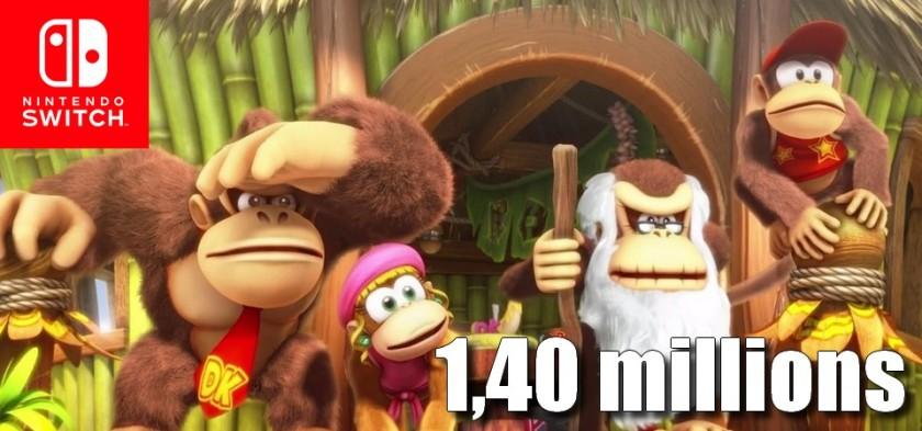 Donkey Kong Country Tropical Freeze ultrapassa 1,40 milhões de unidades vendidas
