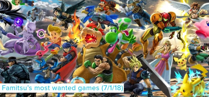Famitsu´s Most Wanted Games (07 01 18) - Super Smash Bros Ultimate chega no topo