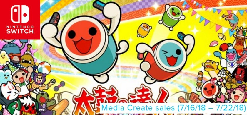 Media Create Sales (7 16 18 – 7 22 18) - Taiko Drum Master lança no topo das vendas do Japão!