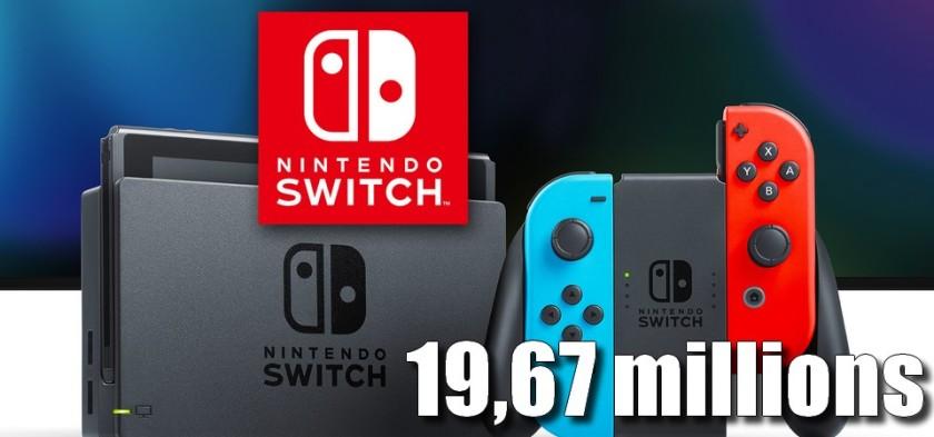 Nintendo Switch ultrapassa 19,67 milhões de unidades vendidas