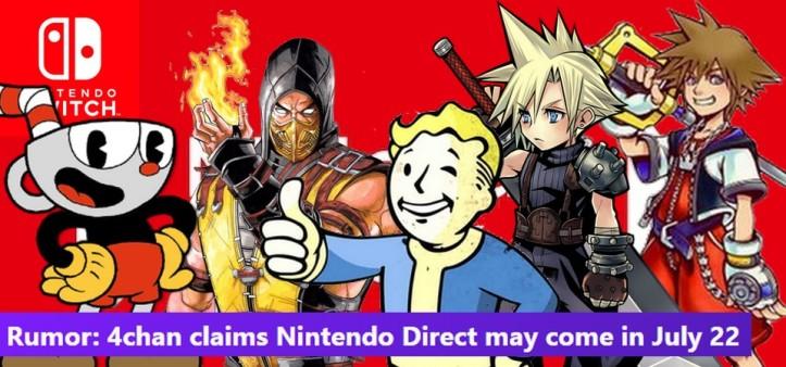 Rumor de Nintendo Direct em Julho - Fallout 76, Cuphead, Mortal Kombat X, Kingdom Hearts III, Final Fantasy VII e outros games