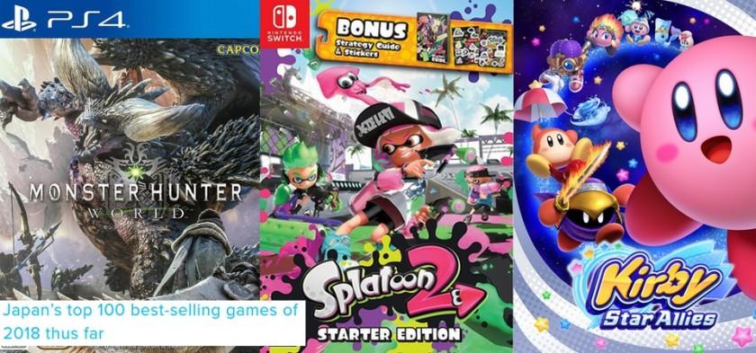 Top 100 - Games mais vendidos no Japão no primeiro semestre de 2018