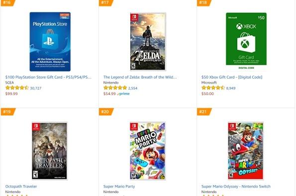 Top 3 4 5 6 Amazon - Zelda Breath of the Wild, Octopath Traveler, Super Mario Party, Super Mario Odyssey