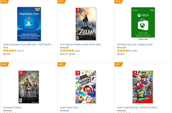 Top 3 4 5 6 Amazon - Zelda Breath of the Wild, Octopath Traveler, Super Mario Party, Super Mario Odyssey