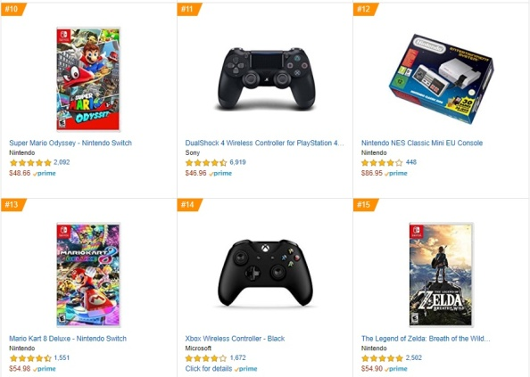 Top 3 4 5 Amazon - Super Mario Odissey, Mario Kart 8 Deluxe, The Legend of Zelda - Breath of the Wild