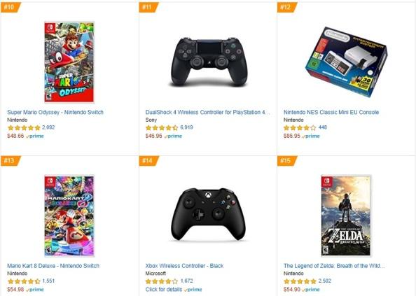 Top 3 4 5 Amazon - Super Mario Odissey, Mario Kart 8 Deluxe, The Legend of Zelda - Breath of the Wild