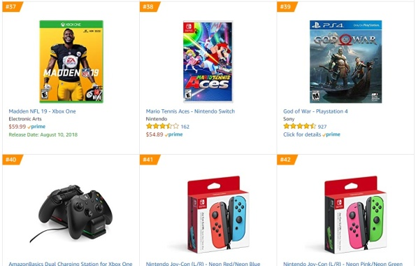 Top 9 10 Amazon - Madden NFL 19, Mario Tennis Aces