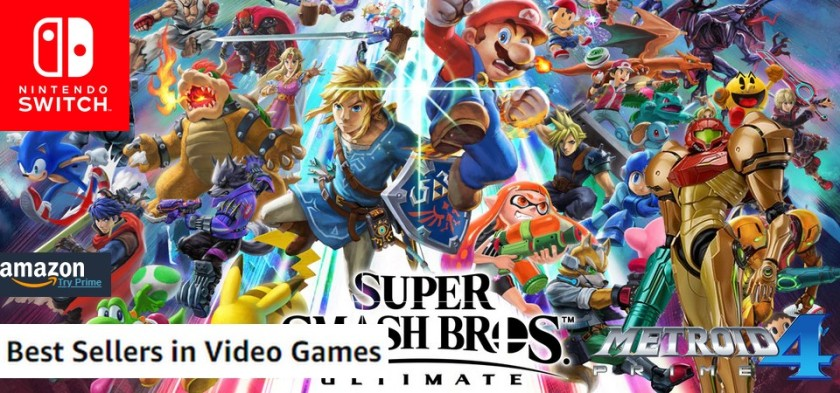 Amazon Best Sellers Games (08 26 18) Super Smash Bros Ultimate domina! Metroid Prime 4 em terceiro lugar!
