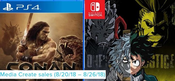 Media Create Sales (8 20 18 – 8 26 18) - Conan Exiles e My Hero One Justice no topo da vendas