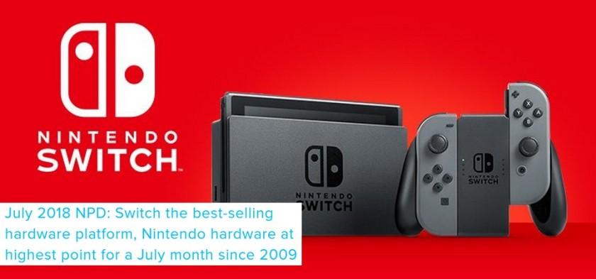NPD Julho 2018 - Nintendo Switch foi o console mais vendido do mês