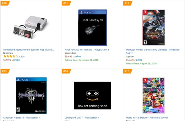 TOP 4 5 6 7 8 Amazon - Final Fantasy VII Remake Monster Hunter Generations Kingdom Hearts III Cyberpunk 2077 Mario Kart 8 Deluxe