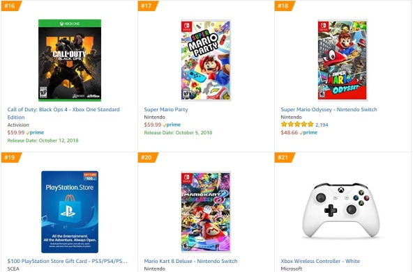 TOP 4 5 6 7 - Call of Duty Black Ops 4 Super Mario Party Super Mario Odyssey Mario Kart 8 Deluxe