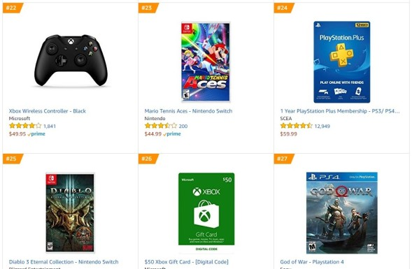 TOP 5 6 7 Amazon - Mario Tennis Aces Diablo III - Eternal Collection God of War