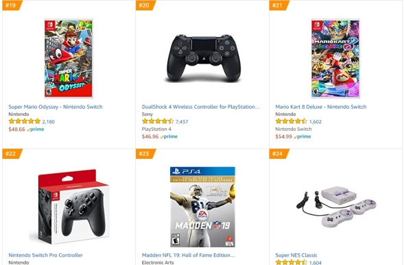 TOP 6 7 8 Amazon - Super Mario Odyssey Mario Kart 8 Deluxe Madden NFL 19 Hall of Fame Edition
