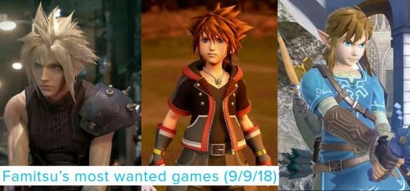 Famitsu_s Most Wanted Games (09 09 18) Guerra do Hype entre Final Fantasy VII, Kingdom Hearts III e Super Smash Bros Ultimate