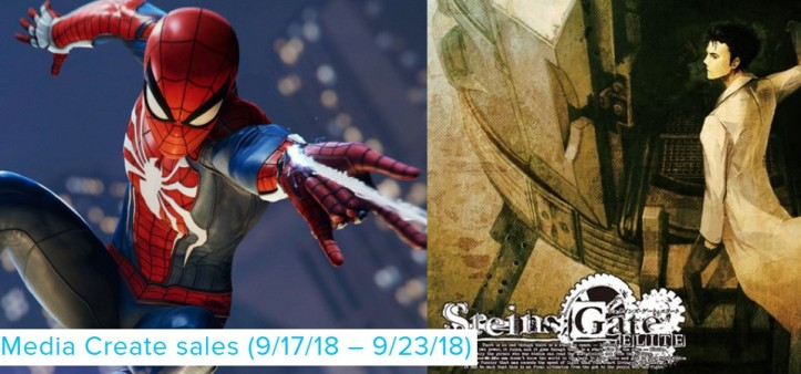 Media Create Sales (9 17 18 – 9 23 18) - Spider-Man lidera e Steins Gate empate técnico PS4 e Switch