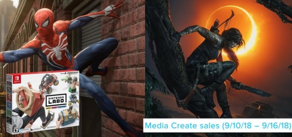 Media Create Sales (9 3 18 – 9 9 18) Shadow of the Tomb Raider lança em 2º lugar e Spider-Man segue em 1º nas vendas do Japão!