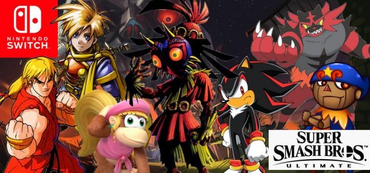 Personagens vazados do Nintendo Direct de Smash Bros Ultimate de Setembro de 2018
