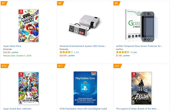 TOP 2 3 4 Amazon - Super Mario Party Super Smash Bros Ultimate The Legend of Zelda Breath of the Wild