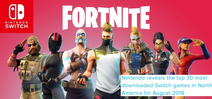 Top 30 - Games mais baixados em agosto no Nintendo Switch na América