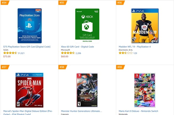 TOP 5 6 7 8 Amazon - Madden NFL 19 Spider-Man Monster Hunter Generations Ultimate Mario Kart 8 Deluxe
