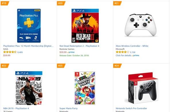 TOP 5 6 7 Amazon - Red Dead Redemption 2 NBA 2K19 Super Mario Party