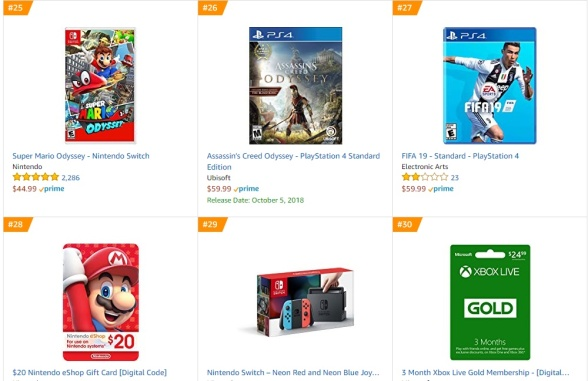 TOP 6 7 8 Amazon - Super Mario Odyssey Assassins Creed Odyssey Fifa 19