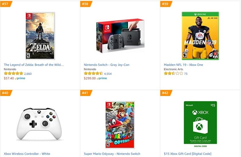 TOP 8 9 10 Amazon - The Legend of Zelda Breath of the Wild Madden NFL 19 Super Mario Odyssey