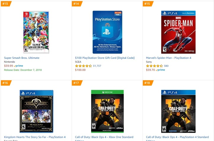 Top 3 4 5 6 7 Amazon - Super Smash Bros Ultimate Marvel´s Spider-Man Kingdom Hearts The Story So Far Call of Duty Black Ops 4