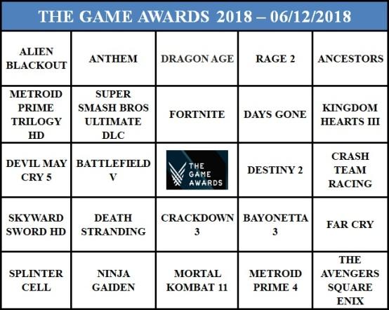 Bingo do The Game Awards 2018