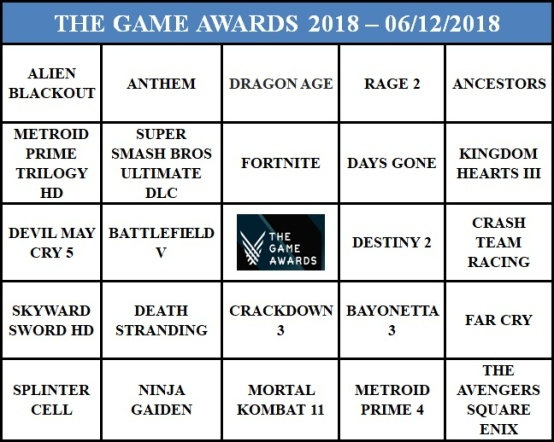 Bingo do The Game Awards 2018
