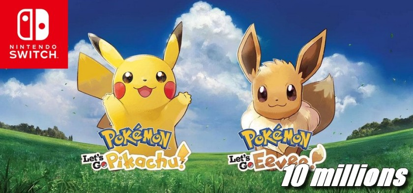 Pokemon Let´s Go Pikachu e Eevee ultrapassa 10 milhões de unidades vendidas