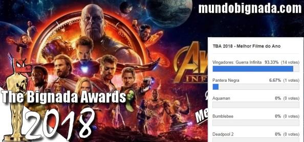 The Bignada Awards 2018 - Melhor Filme de 2018 - Vingadores Guerra Infinita - Resultado da Votação