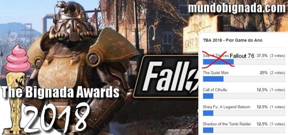 The Bignada Awards 2018 - Pior Game de 2018 - Fallout 76 - Resultado da Votação