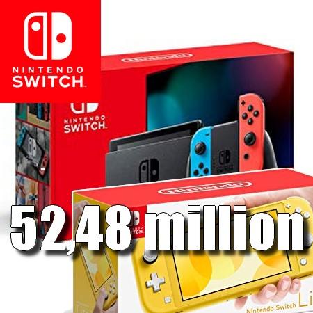 Nintendo Switch ultrapassa 52,48 milhões de unidades vendidas