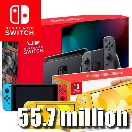 Nintendo Switch ultrapassa 55,70 milhões de unidades vendidas