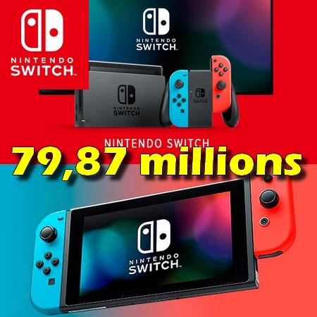 Nintendo Switch ultrapassa 79,87 milhões de unidades vendidas